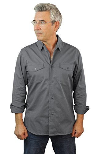 Ls Twill Work Shirt (ASD Living Fine Line Twill Long Sleeve Server Work Shirt Waitstaff, Small, Grey)