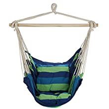 Arad Blue & Green Hanging Rope Hammock Chair Swing Seat for Any Indoor or Outdoor Spaces- Max. 265 Lbs. -2 Seat Cushions Included