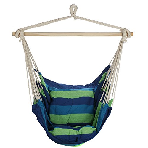 ARAD Blue Green Hanging Rope Hammock Chair Swing Seat for Any Indoor or Outdoor Spaces- Max. 265 Lbs. -2 Seat Cushions Included