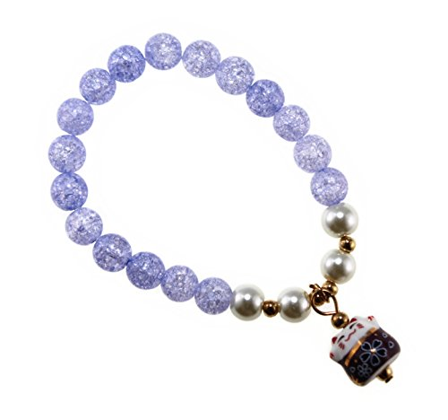 Lucky Charm Costumes (Ice Crack Crystal Korean Style Charm Bracelet with a Fortune & Lucky Cat Pendant (Purple))