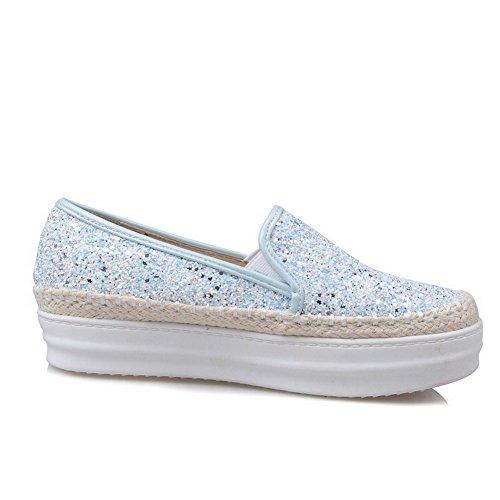 AgooLar Damen Ziehen auf Pailletten Rund Zehe Mittler Absatz Rein Pumps Schuhe Blau