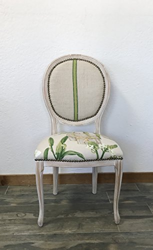 Vintage Louis XV French Style Round Back Side Chair, Manuel Canovas fabric, Vintage Grain Sack Fabric, Floral Print Fabric, Floral Print Chair, Dining Chair, Desk Chair