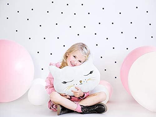 Geschenk-Idee Kinder M/ädchen Baby-Party Taufe Weihnachten Geburtstag Miss Lovely Kuschel-Kissen//Kuschel-Tier Stof-Tier Pl/üsch-Tier Katze Kitty wei/ß Gold