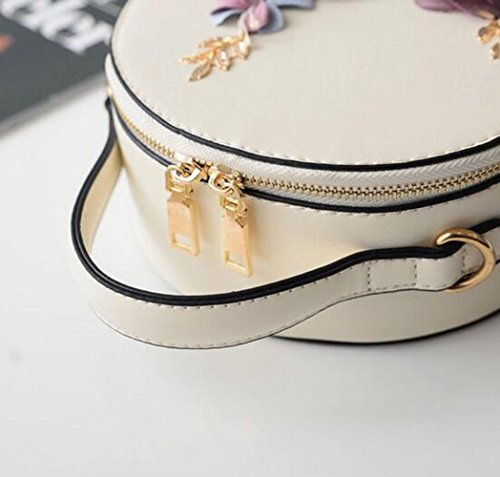 Fashion Mini Round Bag Shoulder Clutch Handbag Handbag Flower Bag 2018 Messenger Woman Small Beige Girl t0XvHA