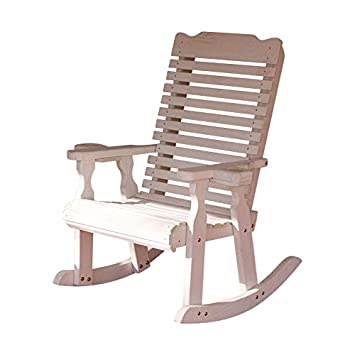 Amish Heavy Duty 600 Lb Classic Pressure Treated Rocking Chair with Cupholders Semi-Solid White Stain