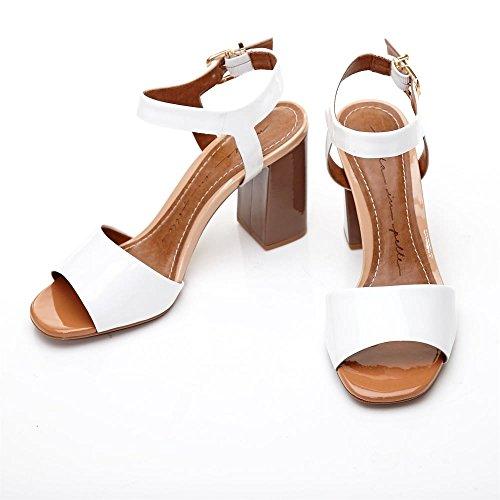 Moda in Pelle Sandalias de Vestir de Piel Para Mujer Blanco Blanco