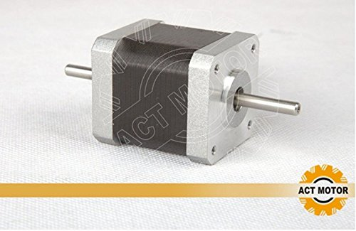 ACT MOTOR GmbH 1PC 17HS5425B Dual Shaft Nema17 Stepper Motor Bipolar 48mm Body 48Ncm Torque 4Wire 300mm Cable 2.5A with 1.8/° 3.1V for Robot CNC Schrittmotor