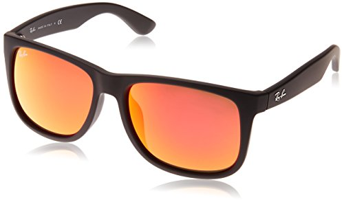Ray-Ban Men's RB4165F Justin Sunglasses Rubber Black / Brown Mirror Orange - Brown Justin Ray Ban