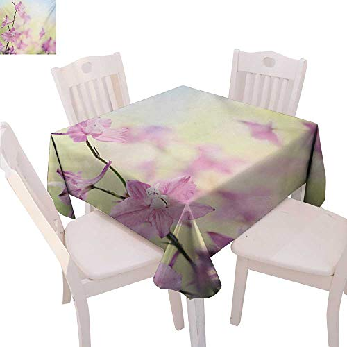 (Floral Stain Resistant Wrinkle Tablecloth Larkspur Petals with Bokeh Backdrop Summer Season Botany Bouquet Image Square Wrinkle Resistant Tablecloth 70