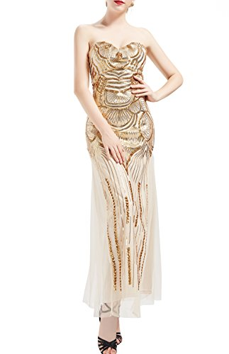 BABEYOND Women's 1920s Vintage Long Sequined Strapless Dress Roaring 20s Flapper Gatsby Dress Lace up Banquet Dress (S)