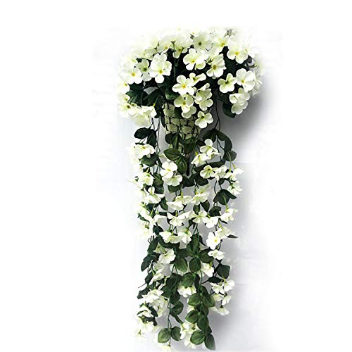 YTADF5E New Violet Artificial Flower Decoration Simulation Wall Hanging Basket Flower Orchid Silk Flower Vine,White