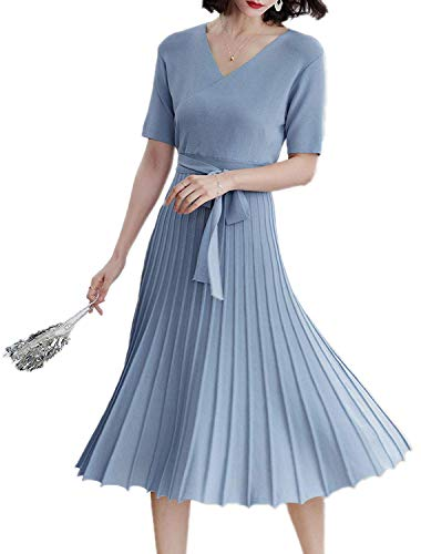 Winter Dress Womens Spring Sexy V-Neck Long Sleeve Wrap Dresses Elegant Belted Midi Solid Knit Sweater with Ruffle (Medium, Blue (Short ()
