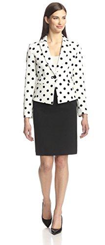 Tahari ASL Notch Lapel Polka Dot Skirt Suit (2, Ivory White/Black)