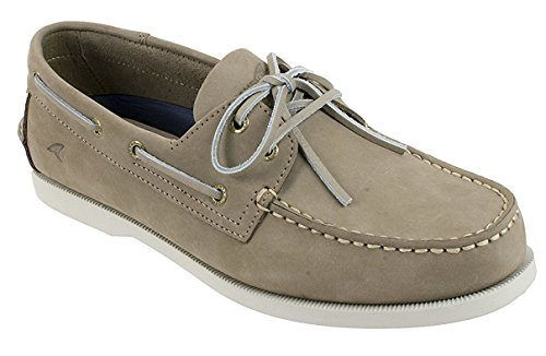 - Rugged Shark Mens Boat Shoes, Classic Comfort, Genuine Leather with Odor Control Technology, Size 11, Taupe Grey