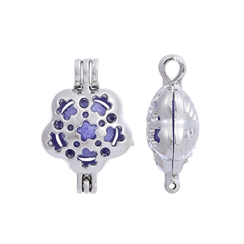 ZEEWELY 10pcs Flower Silver plating Bead Cage Locket Pendant - Add Your Own Pearls, Stones, Rock to Cage,Add Perfume and Essential Oils to Create a Scent Fragrance Oil Diffusing Pendant Char ()