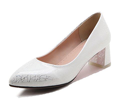 Aisun Féminin Professionnel Bout Pointu Habillé Chunky Mi-talons Glisser Sur Lusure Au Travail Pompes De Bureau Chaussures Blanc
