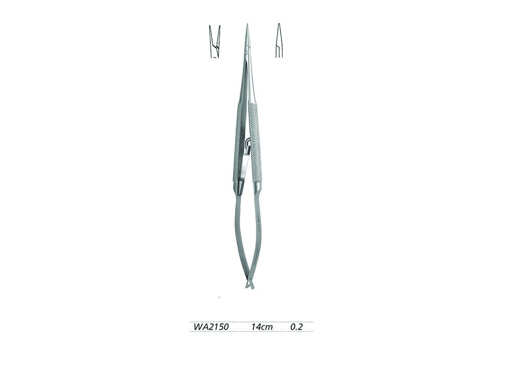 Micro Needle Holders 14cm Straight Head width 0.2 with lock