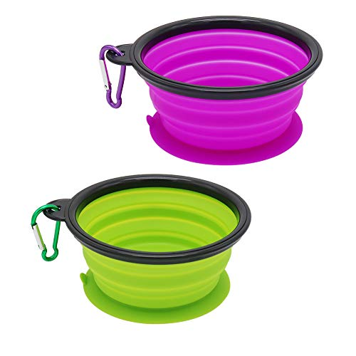 Travel Plastic Bowl - Vivifying Dog Suction Bowl, Food Grade Silicone Collapsible Dog Bowls BPA FreeTravel Dog Bowl for Feed and Water (Green+Purple)