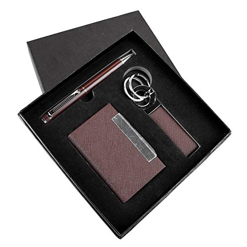Business Card Holder, Pen, and Key Chain Employee Appreciation Gift Pen Set (Brown) ENGRAVEABLE.