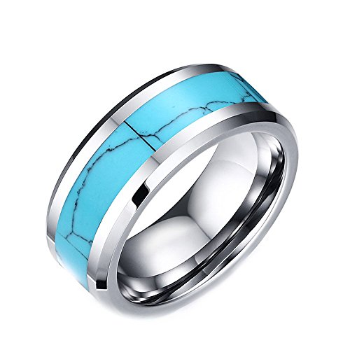 8mm High Polished Tungsten Carbide Wedding Band Rings For Men With Turquoise Beveled Edge Comfort Fit -