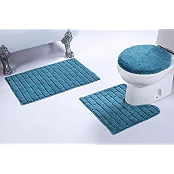 Amazon Com 3pc Brick Pattern Turquoise Non Slip Bath Rug