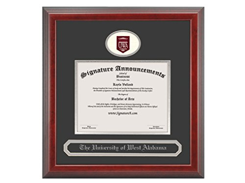 Signature Announcements University-of-West-Alabama Undergraduate, Graduate/Professional/Doctor Sculpted Foil Seal & Name Diploma Frame, 16