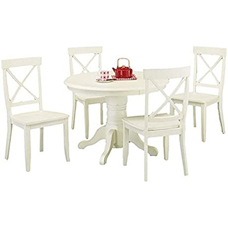 Home Styles 5 Piece Dining Set Creamy White Includes A Sturdy Pedestal Style Table And 4 Cross Back Chairs