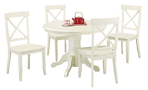 Home Styles 5 Piece Dining Set - Creamy White - Includes a Sturdy Pedestal Style Table and 4 Cross Back Chairs (Banquette Sets Dining Sale)