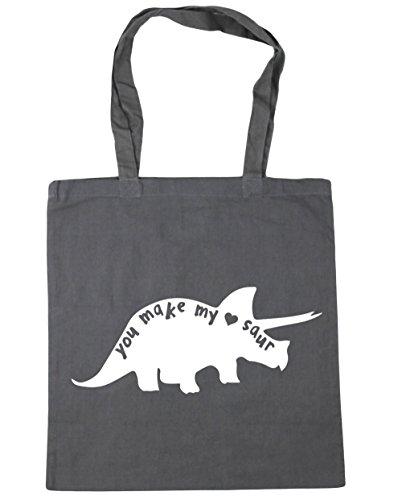HippoWarehouse You Make My Heart Saur Cute Dinosaur Tote Shopping Gym Beach Bag 42cm x38cm, 10 litres Graphite Grey