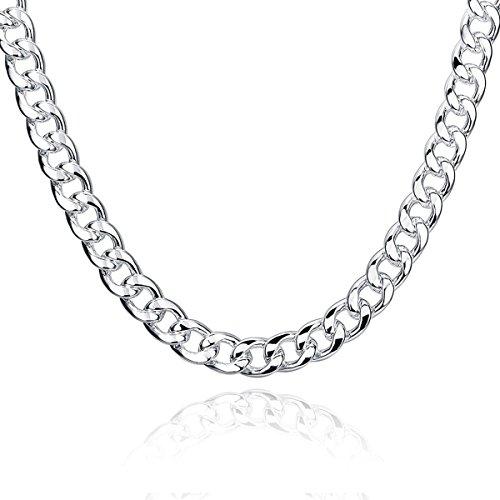 c870fdd290e8 Collar de cadena hombres joyas 20 24 Inch Curb Enlace cadenas con chapado  en plata de