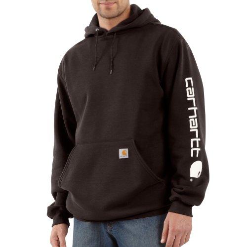 Carhartt Men's Signature Sleeve Logo Hooded Sweatshirt Hooded XLG TLL Dark Brown (Shirt Hoodie Logo Hooded Sweatshirt)