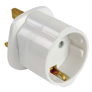 Altai white 13a uk visitors travel adaptor converting european schuko to standard uk - Adaptateur prise anglaise darty ...