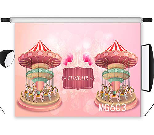 LB 7x5ft Baby Kids Funfair Photography Backdrop Funny Carousel Photo Background Studio Prop Customized MG603