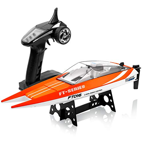 (Remote Control Boats for Pools and Lakes - SUPER JOY FT016 2.4Ghz RC Racing Boat for Kids or Adults -30KM/H TOP Speed -150M Control Distance -Electronic Remote Control Boat for Boys or Girls)