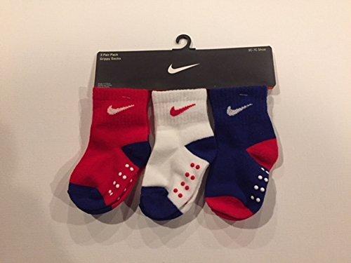 Nike Infant Toddler Baby Socks, 3 PAIRS, White/Blue/Red, Shoe 3C-7C (Nike Infant Socks)