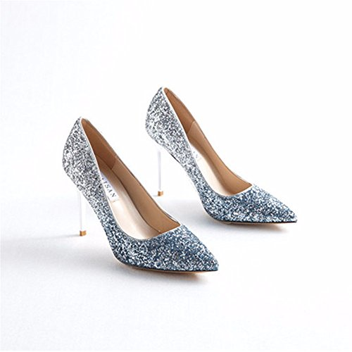 Sequined Fine Fashion Ladies' Shoes Pointy Heels silver High Shoes Prom Shoes HXVU56546 Blue Gradient dnSzXY11