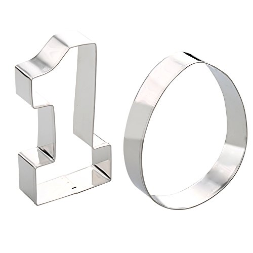 Fantastic Zone Large Number One #1 & Egg Cookie Cutters - 4.9 Inches, Made of Stainless Steel (Metal Number Cookie Cutters)