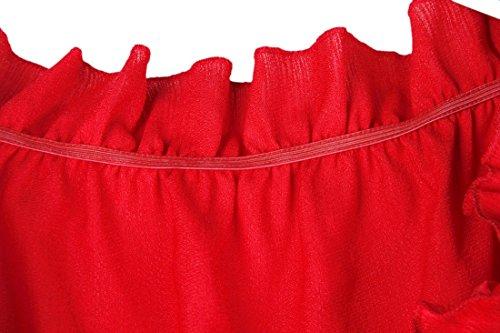 QIYUN.Z Top Vestito Rosso Lungo Off-Spalla Di Modo Delle Donne Impostati