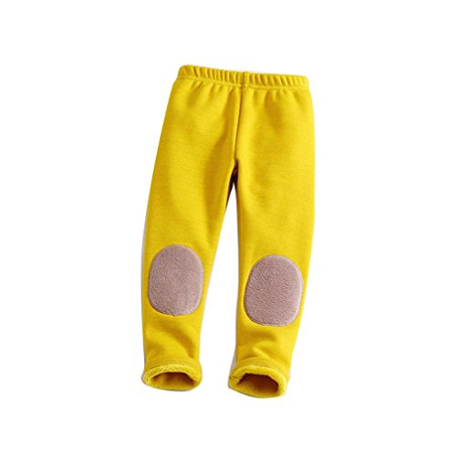 Lined Pants Trousers (AliveGOT 2-6T Kid Baby Cotton Patchwok Stretch Leggings Warm Thick Lined Long Pants Trousers (Yellow, 3 Years Old))