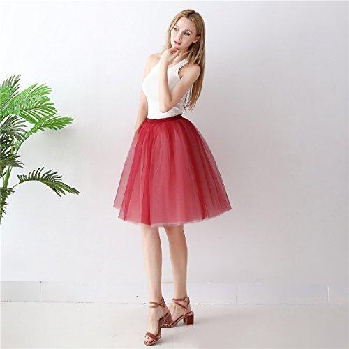 Vin Jupon Jupe Vintage Mauve de Ligne Party Dress Petticoat Rockabilly Mollet Bal Balle Tulle A Rouge Robe ShowYeu Mi Femmes Tutu Fte De qxWRn18YO7