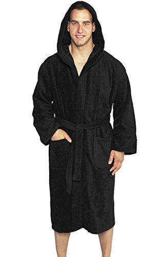 Full Length Hooded Terry Bathrobe Unisex, 100% Combed Pure Turkish Cotton, Made in Turkey - Black (Turkish Hooded Robe compare prices)