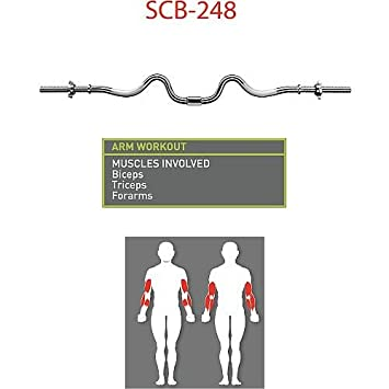 Marcy 2-Piece Threaded Super Curl Bar with Chrome Spin Lock Collars Free Weights Accessories for Home Gym SCB-248