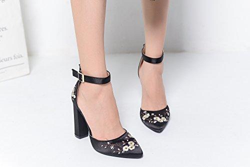 Elegance BERYL Lady Mila BLACK Platform Strap Heels Lady FL 08 D'Orsay Ankle Classic wRUxB5A0xq
