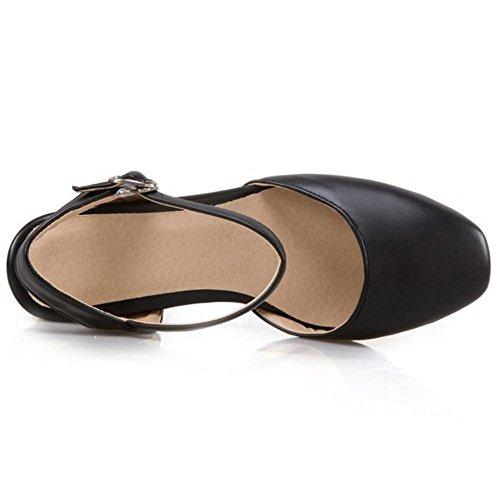 RAZAMAZA Mujer Moda Zapatos de Tacon Ancho Punta Abirta Correa de Tobillo Talon Abierto Negro
