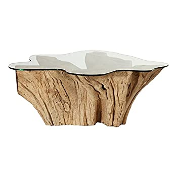 Mohr and McPherson 46x46 inch weathered teak root glass top coffee table