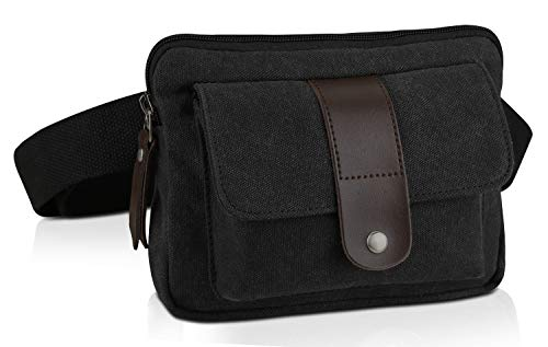 Ibagbar Small Fashion Multifunction Vintage Canvas Waist Bag Fanny Pack Running Pack Outdoor Bag Sporting Bag Cycling Leisure Bag with Detachable Belt for Men and Women Black best to buy