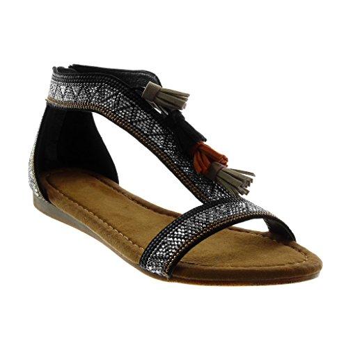 Fleco Plataforma Mujer 1 Zapatillas Moda Angkorly Folk Correa Negro Sandalias Cm Pompom 5 Strass w8x1qpT