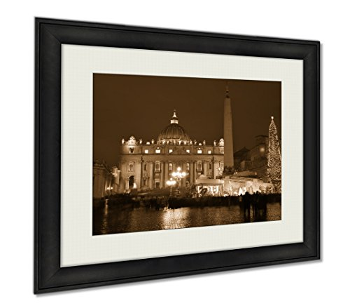 Ashley Framed Prints Saint Peters Basilica In Night Roma, Wall Art Home Decoration, Sepia, 30x35 (frame size), AG6044293 by Ashley Framed Prints