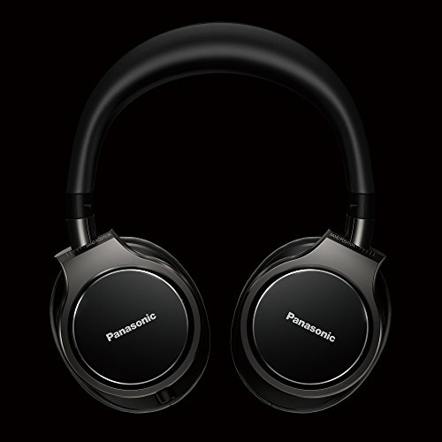 41hQfJmqKmL - Panasonic Premium Hi-Res Stereo Over-the-Ear Headphones with Mic + Controller RP-HD10C-K (Black), with Travel Case