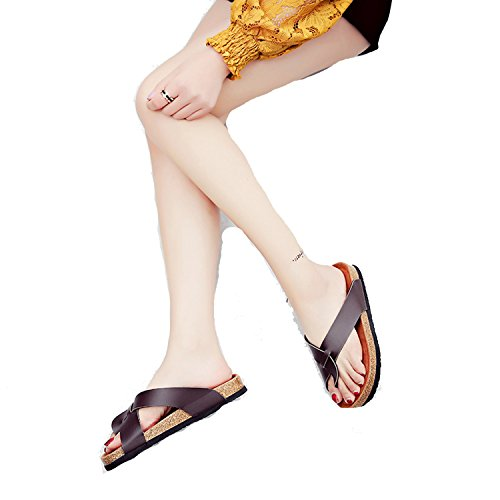 Mistere Slipper Women's Summer Flat Women's Shoes Adhesive Shoes Women's Flat with Flap Home Cork Couple X (Flap Mops)